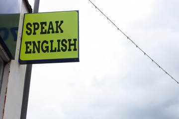Word writing text Speak English. Business photo showcasing Study another Foreign Language Online...
