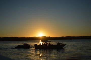 Sunset in the river Cachoeira