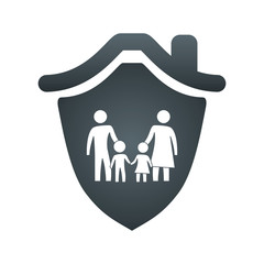 shield with safe family secure padlock vector illustration