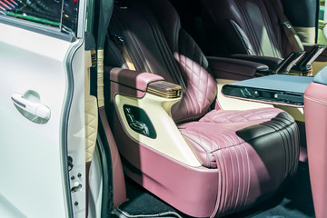 leather interior of the luxury modern car
