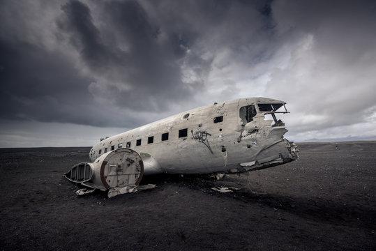 Plane wreckage in Black sand beach in iceland