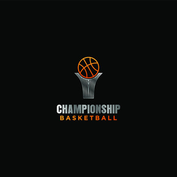 Chsmpionship trophy logo design - basketball sport ball