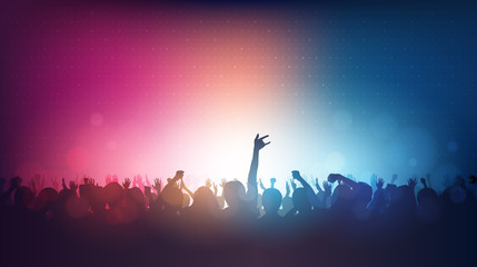 Silhouette of people raise hand up in rock concert with lens flare on red and blue color background