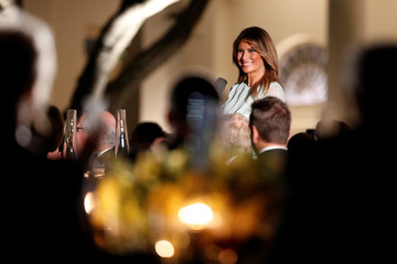 "U.S. First Lady Melania Trump delivers remarks following a performance by ""The President's Own"" United States Marine Corps band, inside the Rose Garden of the White House in Washington, D.C."