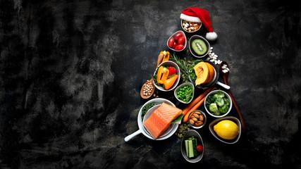Christmas tree made of healthy food