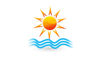 Logo blue spiral waves beach and sun vector image design