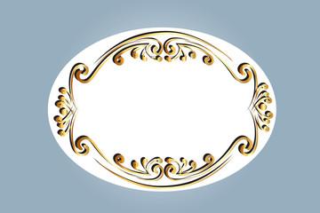 Frame gold ornamental  floral vector image design