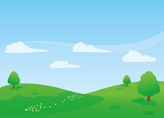 Nature landscape vector illustration with green meadow, trees and blue sky Wall mural