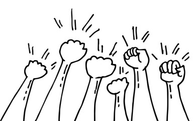 hand drawn of doodle hands up. fist hand, protest symbol, power sign. vector illustration