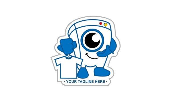 Laundry service mascot logo, washing machine mascot logo vector
