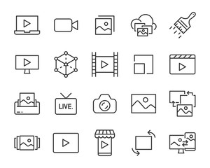 set of image and video icons,  steaming, play, clip video