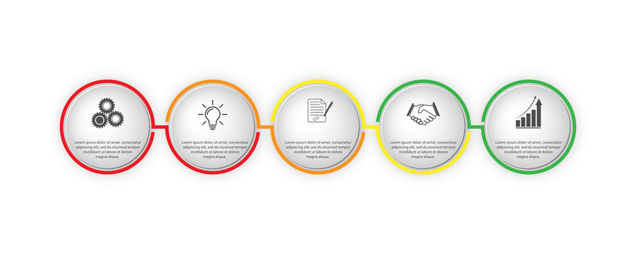 Infographics 5 stages of the project, business strategy and planning and financial success