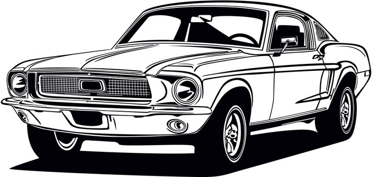 Classic vector retro vintage custom car design