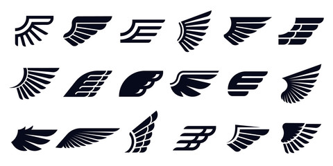 Silhouette wing icons. Bird wings, fast eagle emblem and decorative ornament angel wing stencil. Black tattoo sketch, airport logo or victory insignia. Isolated symbols vector bundle Wall mural