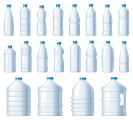 Plastic bottles. Water cooler bottle, PET package for liquids and soda drink beverage. Liquid bottles storage, fresh cold water empty packages. Isolated vector illustration icons set