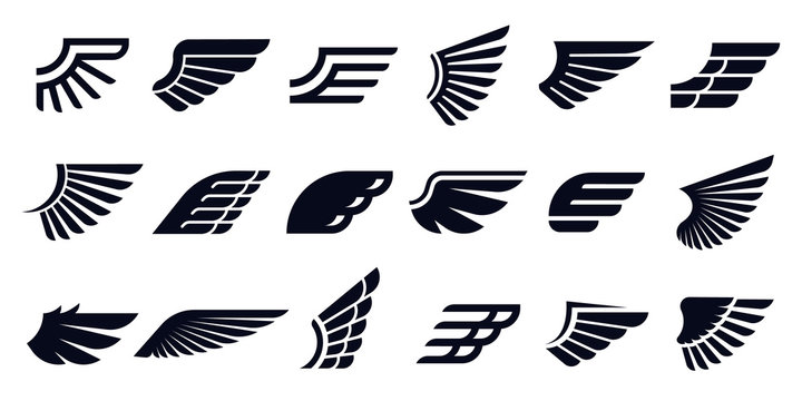 Silhouette wing icons. Bird wings, fast eagle emblem and decorative ornament angel wing stencil. Black tattoo sketch, airport logo or victory insignia. Isolated symbols vector bundle