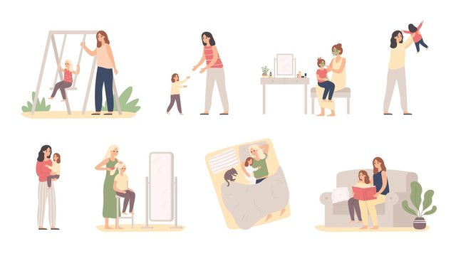 Mother and daughter. Motherhood love, daughters raising and little girl with mom. Mommy caring child, motherhood love or parenting lifestyle. Isolated vector illustration icons set