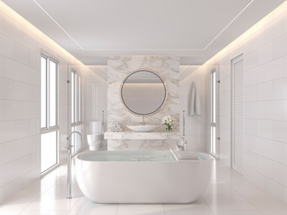Luxurious white bathroom modern style 3d render. The room has white tiles and the wall is decorated with marble at the back of the basin wall. There is a large window of natural light into the room. Wall mural