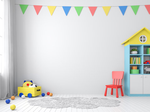The playroom 3d render has white walls and floors decorated with colorful furniture.The walls are decorated with colorful triangular flags, natural light shines into the room.