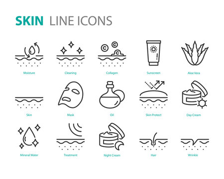 set of skin icons, aloe vera, lotion, moisture, uv
