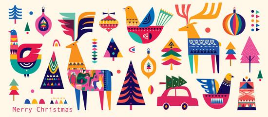 Christmas pattern in Scandinavian folk style with deer, Christmas tree, bird
