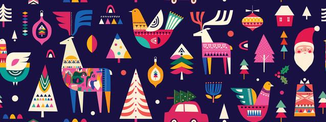 Fotomurales - Christmas seamless pattern in Scandinavian folk style with deer, Christmas tree, bird
