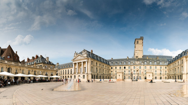 view of the Place de La Liberacion Square in the heart of the old town of Dijon with people dining out in the many restaurants