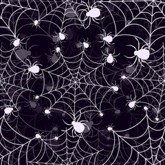 Abstract seamless halloween pattern for girls or boys. Creative vector halloween background with net, spider. Funny halloween pattern for textile and fabric. Fashion spider net style. Colorful picture