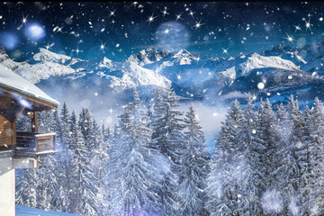 Beautiful view of mountains and snowy fir trees in wintertime.