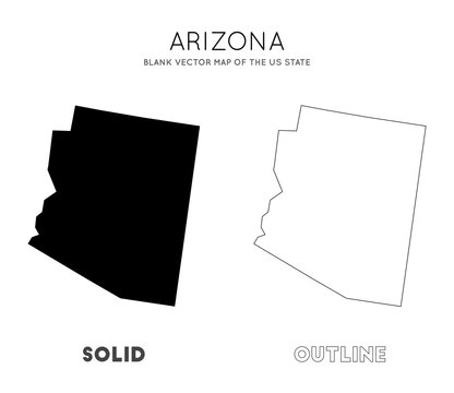 Arizona map. Blank vector map of the Us State. Borders of Arizona for your infographic. Vector illustration.