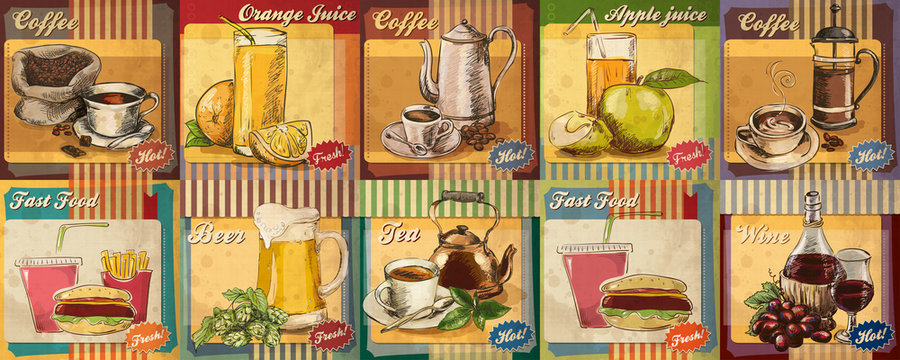 Set of hand drawn cafe drinks illustration for retro poster. Coffee, tea, beer, wine, juice.