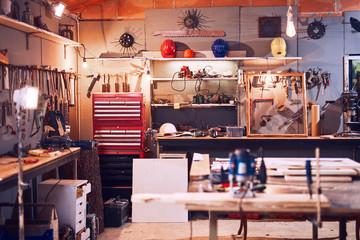 Fototapeta Retro / vintage workshop with misc. tools. obraz