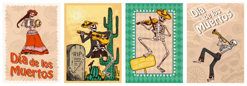 Day of the Dead Posters on a colored background. Skeletons dance and play musical instruments. In Spanish Dia De Los Muertos. Religious holiday with happy skulls. Hand drawn engraved banner Set.
