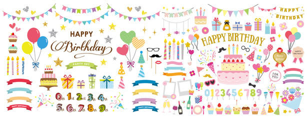 happy birthday party card and decoration vector set