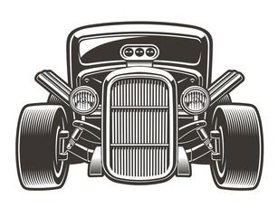 Vector illustration of hot rod in full face