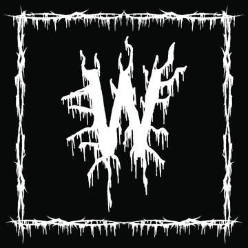 Metal music band font.White smudged and tattered letter on black background.