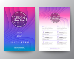 Obraz purple flyer design template. Minimal abstract curved wave shape on neon magenta purple gradient color background. A4 size - fototapety do salonu