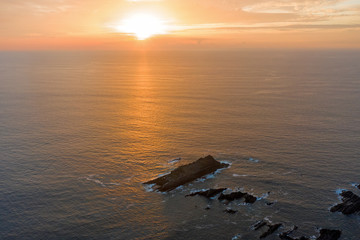 Aerial from a beautiful sunset at Arifana in Portugal