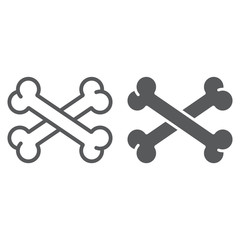 Cross bone line and glyph icon, halloween and danger, crossed bones sign, vector graphics, a linear pattern on a white background.