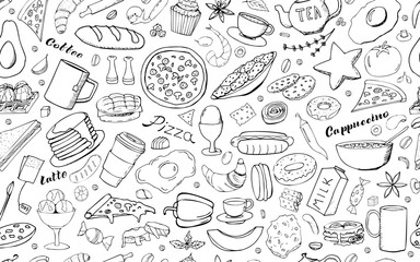 Vector background with breakfast, lunch, coffee, pizza, snacks. Useful for packaging, menu design and interior decoration. Hand drawn doodles.  Seamless pattern of food elements on white background.