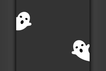Halloween wallpaper, cute ghost in black background