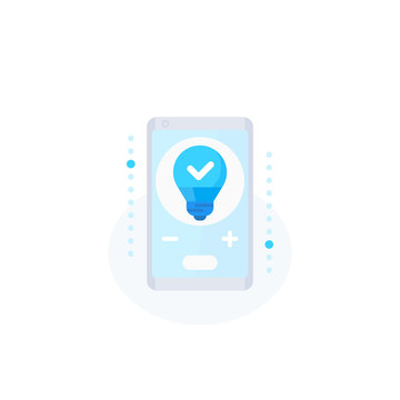 smart led light icon with phone