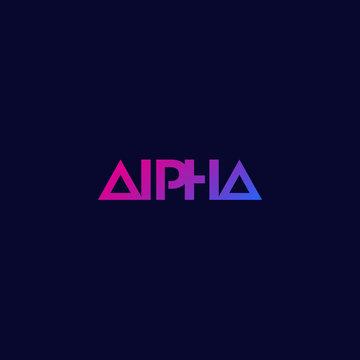 Alpha logo, minimal design, vector