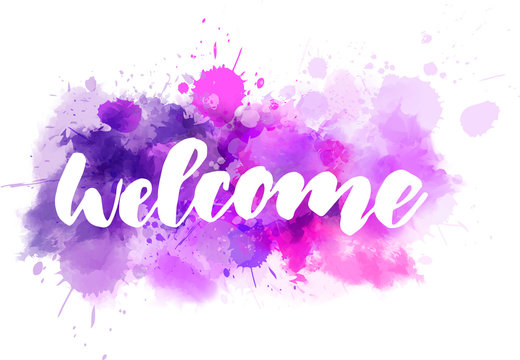 Welcome lettering on purple watercolor background