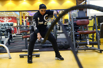 Iranian bodybuilder woman, Sharareh Nobahari works out at a Gym in Tehran