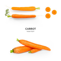 Creative layout made of carrot on the white background. Flat lay. Food concept.