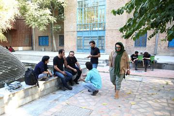 Iranian bodybuilder Sharareh Nobahari walks in Tehran