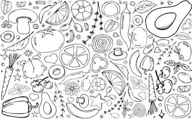 Vector backdrop with vegetables.Peppers,avocados,melon,mushrooms,carrots,tomatoes.Useful for packaging,menu design and interior decoration.Hand drawn doodles.Sketchy collection of elements.