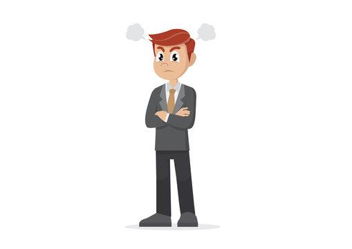 Cartoon character, Angry businessman.