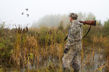 the hunter looks after the departing ducks
